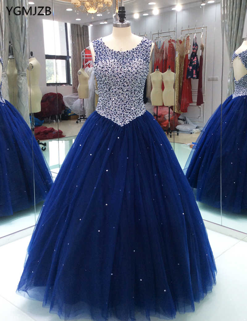 678a8696a1a Detail Feedback Questions about Vintage Navy Blue Puffy Prom Dresses Ball  Gown Beaded Backless Tulle Floor Length Arabia Long Evening Dresses Party  Gowns on ...