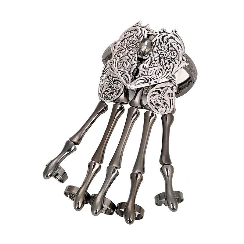 Fashion Gold Punk Bracelets Bangles for Women Accessories Skull Skeleton Hand Elastic Steampunk Bracelet Bangle Men Jewelry Gift in Charm Bracelets from Jewelry Accessories