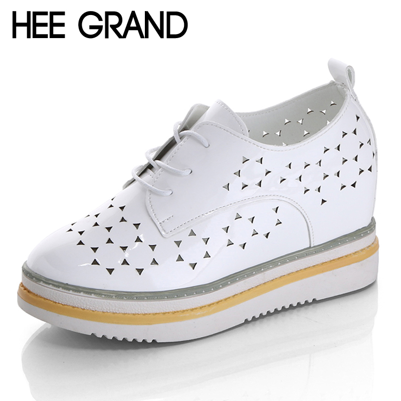 HEE GRAND Wedges 2017 Platform Shoes Woman New Leisure Oxfords Breathable Creepers Increased Internal Women Brogue Shoes XWD5838 hee grand 2017 gladiator sandals summer platform shoes woman slip on creepers rhinestones casual wedges women shoes xwz3547