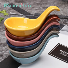 2Pcs Ceramic Spoon Tableware Soy Sauce Dish Home Mini Creative Spoons Cuttlefish Balls Placed On A Saucer