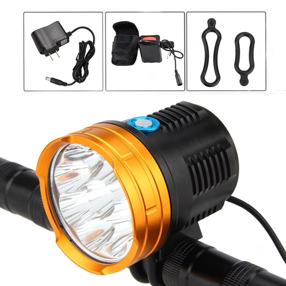 15000 LM 9x XM-L R8 LED Front Bicycle Light Rechargeable Bike Lamp Light Torch +12000mAh Battery Pack+AC Charger Set led downlight lamp 3w 220v 110v ceiling recessed downlights round cob downlight cold white led panel light free shipping