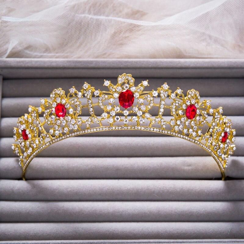 2colors High quality Vintage Red Green Rhinestone Brides Gold Crown Tiara Hair Accessories Brides Headband Hair