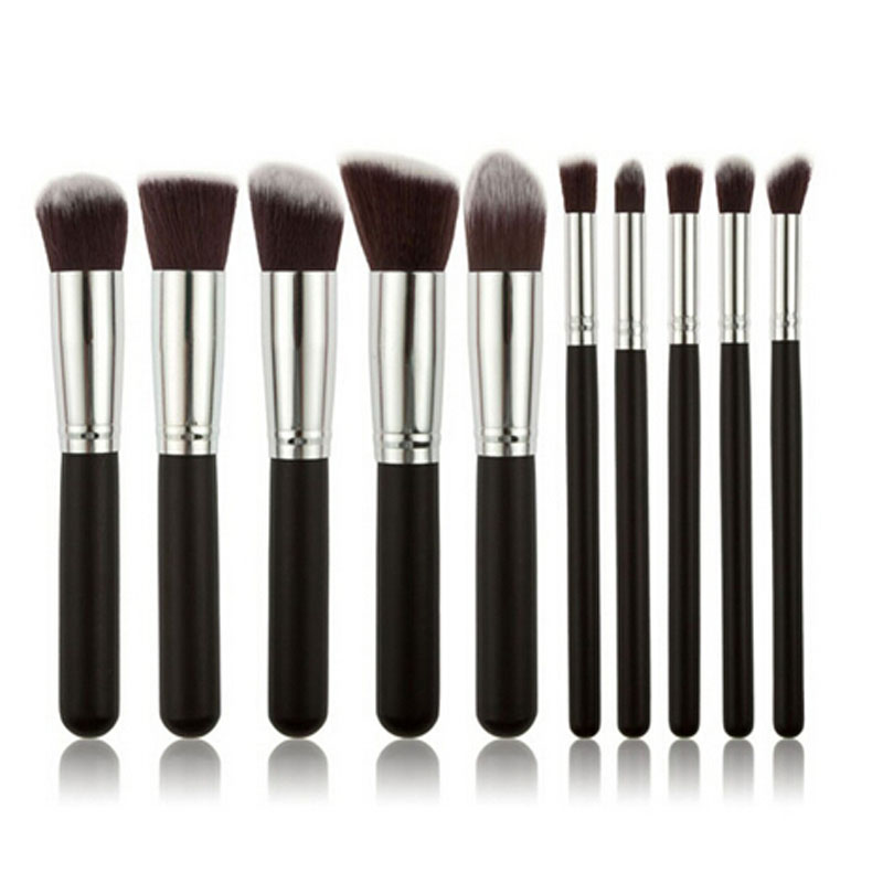 Eye Shadow Applicator Objective Gujhui Black 1set/10pcs Women Girls Makeup Brushes Set Cosmetic Foundation Face Eyeshadow Brush Kabuki Free Shipping Hottest Handsome Appearance Makeup