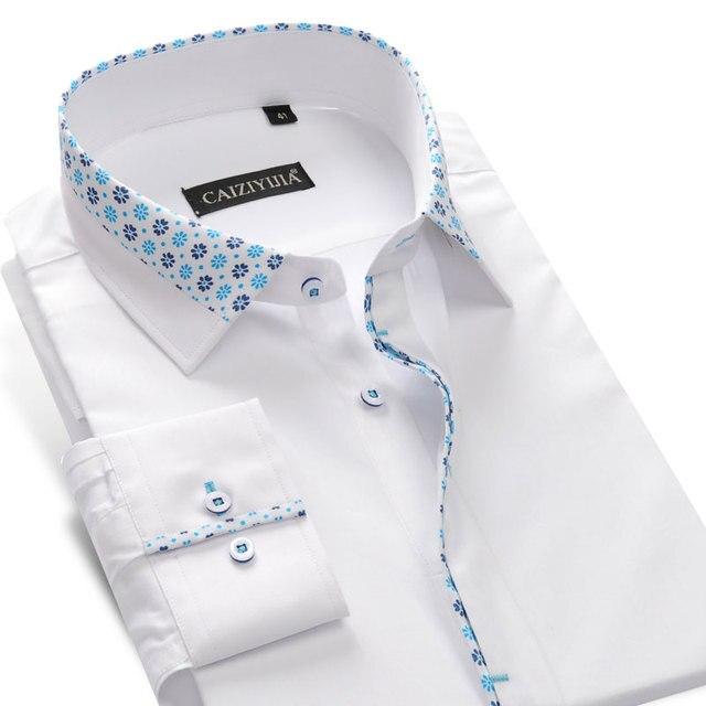 Camicie di cotone stampate floreali a contrasto Casual da uomo per le vacanze camicia con colletto abbottonato a maniche lunghe dal Design senza tasca