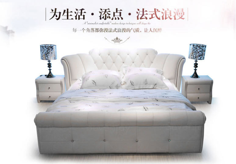 Europe And America Genuine Leather Bed Frame Modern Soft Beds Home Bedroom Furniture Cama Muebles De Dormitorio / Camas Quarto