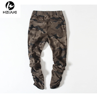 HZIJUE Army Pants Camouflage Casual Skinny Zipper Botton Sweatpants Solid Hip Hop High Street Trousers Pants