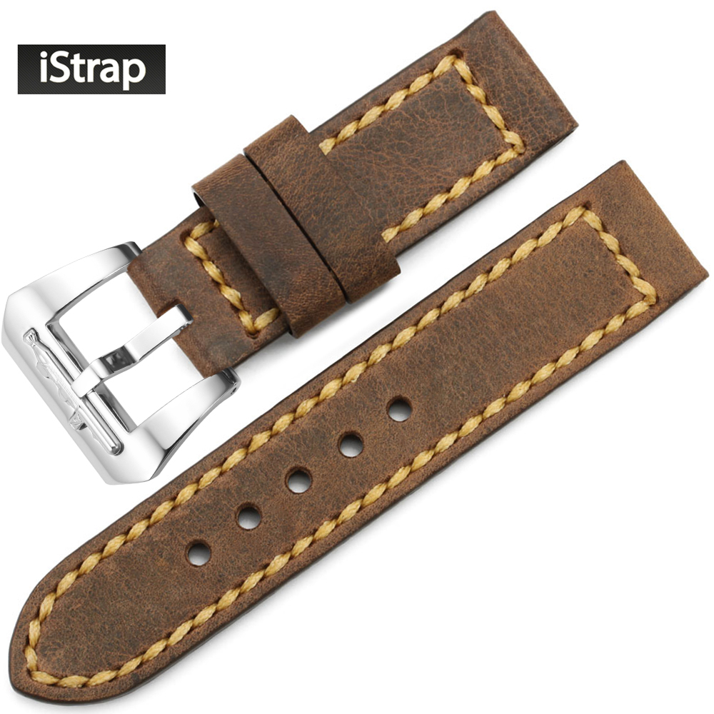 iStrap 24mm Brown Vintage Watchband Assolutamente Leather Watch Band Strap Bracelet Replacement Tang buckle for Panerai eache silicone watch band strap replacement watch band can fit for swatch 17mm 19mm men women