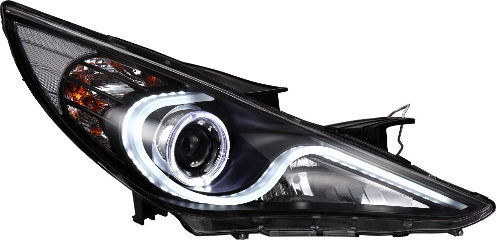 VLAND Car Head lamp for Sonata LED Headlight 2012-2015 with Angel Eyes HID H7 BI Xenon plug and play free shipping for vland car head lamp for hyundai elantra led headlight hid h7 xenon headlamp plug and play for 2011 2013