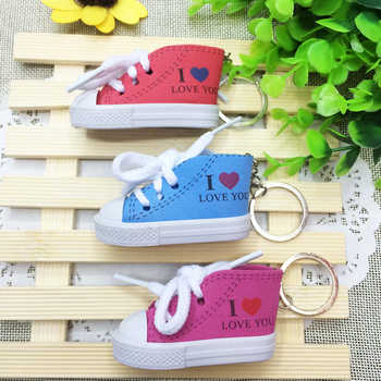 DHLFree 6 colors 110PCS 3D Novelty Canvas Sneaker Tennis Shoe Keychain Key Chain Party I love you key chains