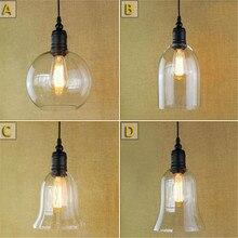 Glass Ceiling Pendant Lamp Light Vintage Industrial Metal Edison lamps lampara de techo lustre cristal pendente lampe