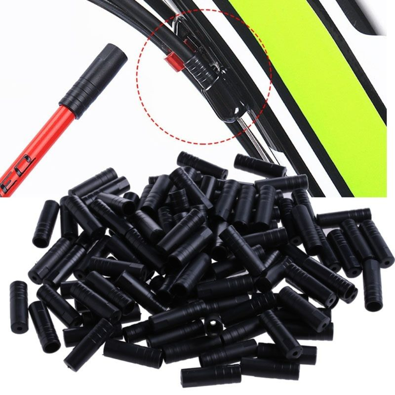 100Pcs Bike <font><b>Bicycle</b></font> Cycling Brake Cable Crimps Housing Plastic End Tips Caps 4mm <font><b>Bicycle</b></font> <font><b>Parts</b></font> image