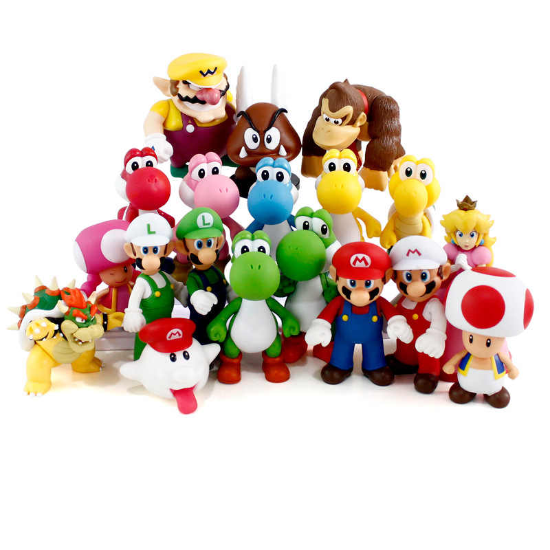 13Cm Super Mario Figures Speelgoed Super Mario Bros Bowser Luigi Koopa Yoshi Mario Maker Odyssey Pvc Action Figure Model poppen Speelgoed