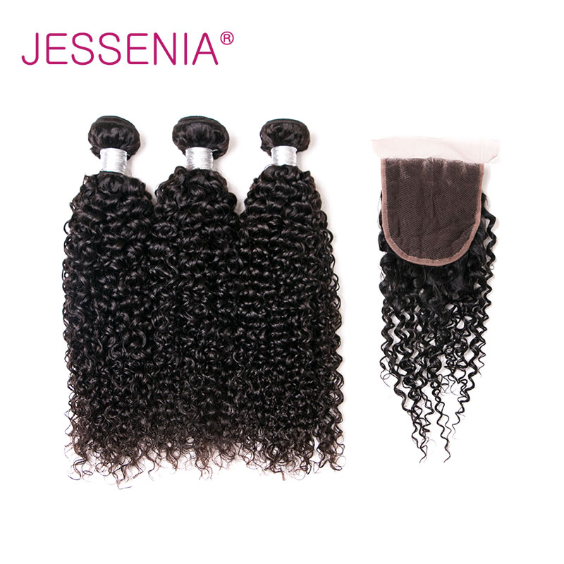 JESSENIA HAIR Brazilian Curly Hair Weave 3Bundles With Lace Closure Free/Middle/Three Part Remy Hair Bundles 4Pcs/Lot Deals Weft
