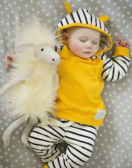 Autumn Newborn Infant Baby Boys Girls Clothes Sets Long Sleeved Hooded Jacket + Striped Pants 2PCS Baby Clothes Suit 0-24 Months 16