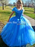 2015 New Movie Princess Adult Cinderella Gorgeous Dress Custom Made Cosplay Costume Fancy Dress Holleween Dress