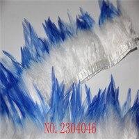 Оптовая продажа Новые двухцветные 5-6 дюймов белый кончик перья из ткани 2 ярдов DIY Одежда Декоративные аксессуары
