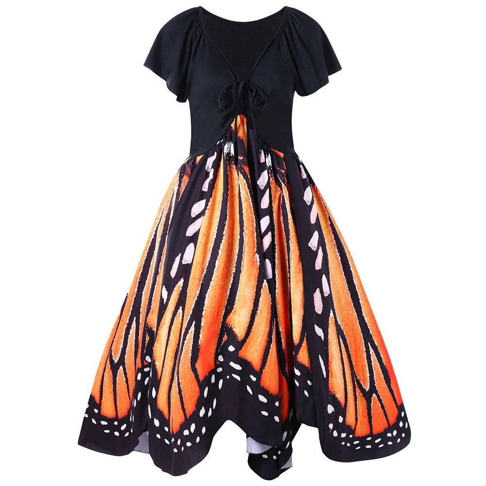 LANGSTAR 2018 Plus Size Vintage Butterfly Embroidery Summer Dress Women 50s Swing Pin Up Vestido Robe femme Dress 5XL Big Size