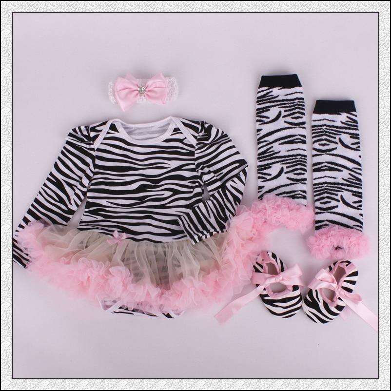 4PCs per Set Infant Outfits Zebra Baby Girls Long Sleeves Tutu Dress Headband Shoes Leggings for 0-12months Free Shipping