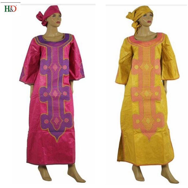 H&D mujer africana Riche Bazin bordado mangas de elefante 100% - Ropa nacional