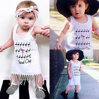 Summer Casual Baby Girls Letter Dress Cotton Kids Toddler Sleeveless Sundress