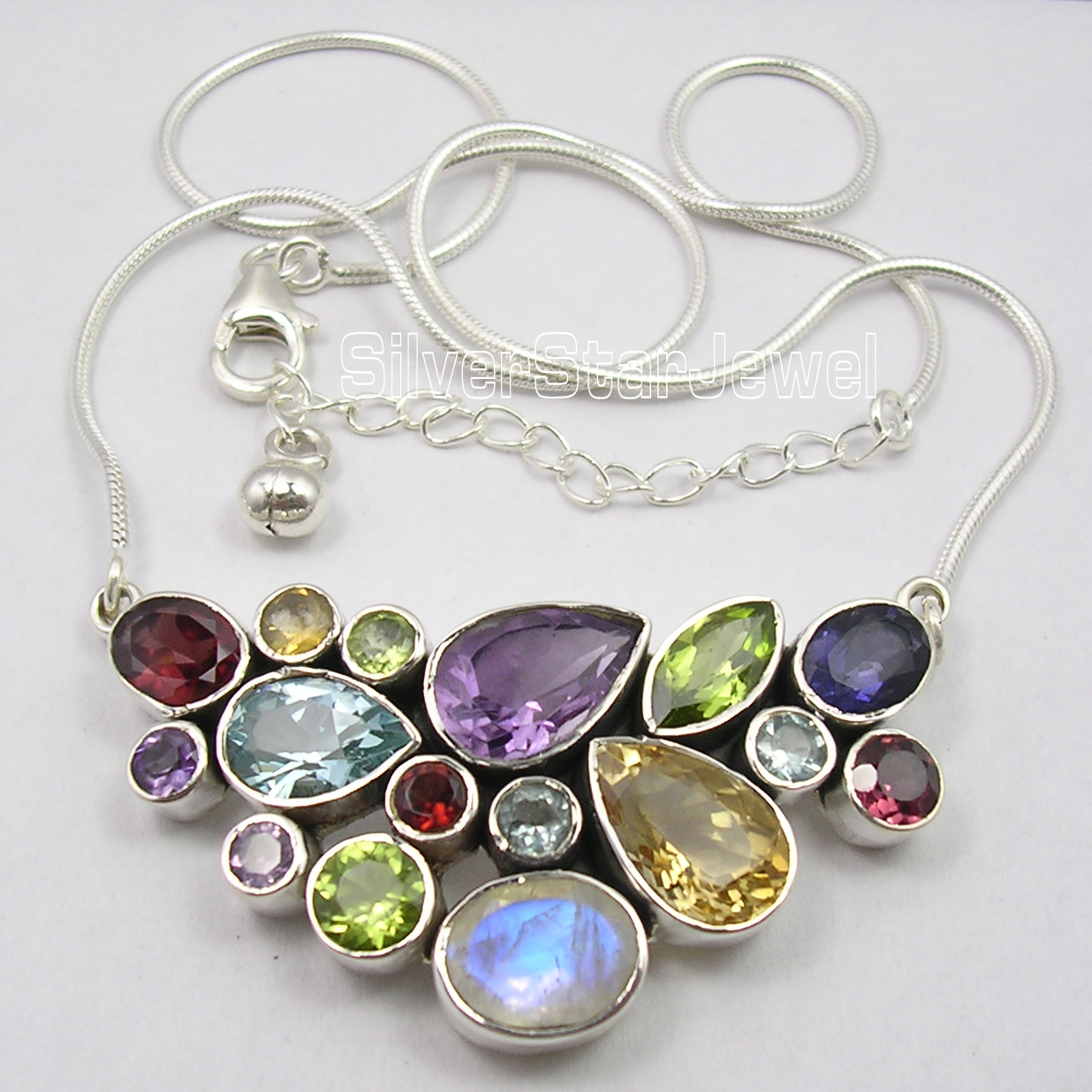 Solid Silver Natural MULTISTONE COLORFUL Snake Chain Necklace 18 1 4 Inches
