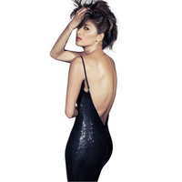 Sexy Sheath Spaghetti Strap Black Party Dress Mini Sequined Glitter Bodycon Nightclub Dress Simple Backless Luxurious Dress