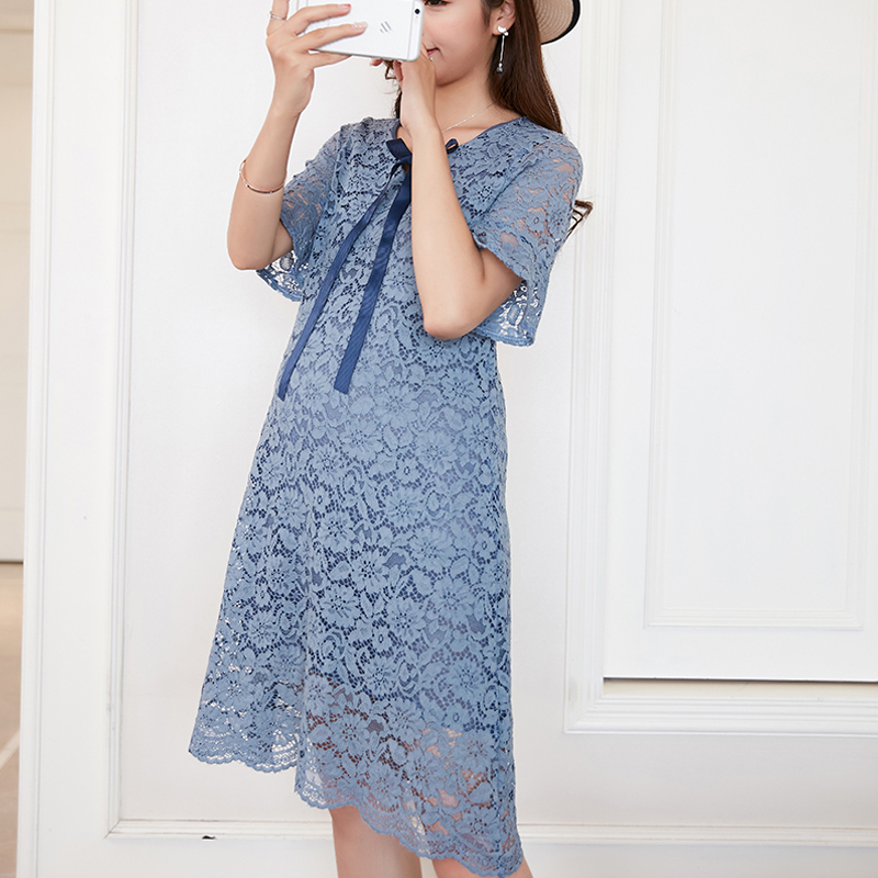 Summer Lace Maternity Dress Embroidery Pregnancy Clothes Loose Preppy Style Cotton Maternity Clothing Of Pregnant Women Vestidos