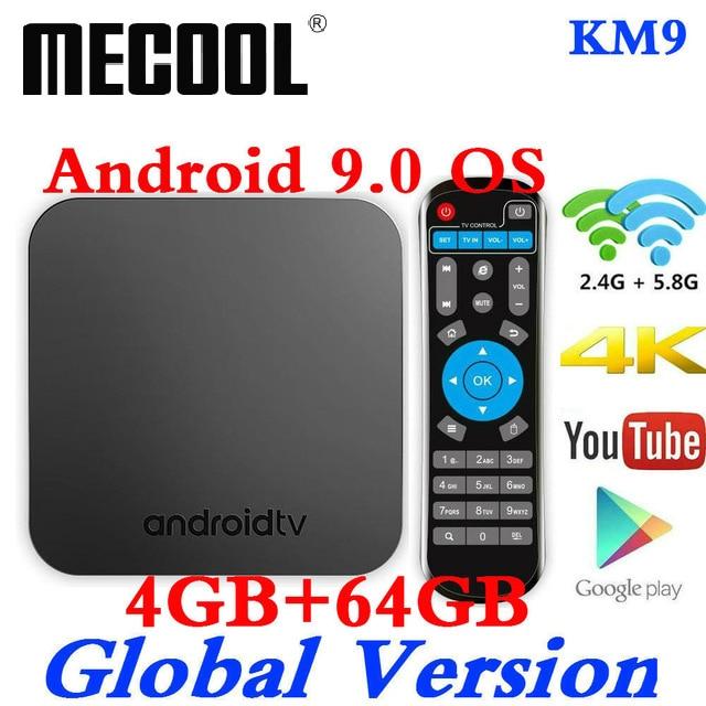 Sawpy Android 9.0 TV Box KM9 TV Box 4 Go de RAM LPDDR4 64 Go de ROM CPU Amlogic S905X2 Quad Core Arm Cortex-A53 Dual WiFi 2.4Ghz /& 5Ghz Bluetooth 4.0 4K 1080P 3D USB 3.0 HDMI 2.1 Smart TV Box