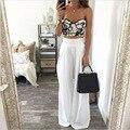 Nuevos pantalones del verano para las mujeres de cintura alta pantalones de gasa blanca feminina 2016 sueltos pantalones de pierna ancha mujeres YZ #1626
