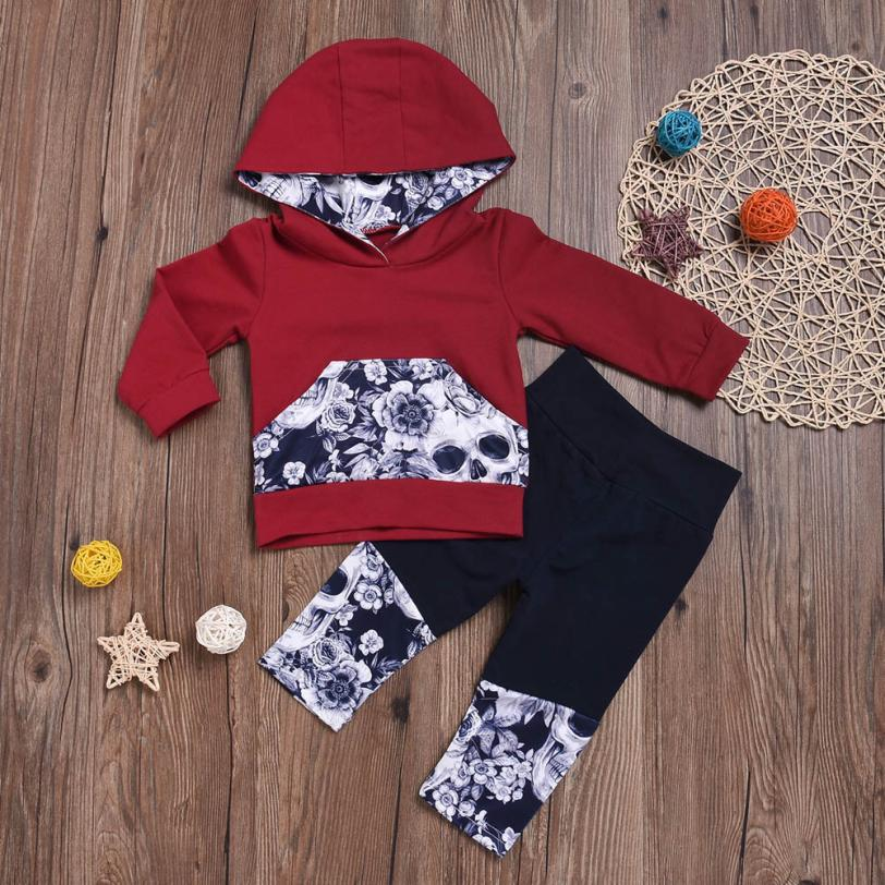 62d66669f Newest Baby Clothing Girls Boys Flower Skull Bone Printed Hooded Tops+Pants  Outfits Set Newborn Baby Girl Clothes Baby Clothes Tags:
