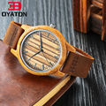 Hot Wooden Watch Genuine Leather Quartz Watches Men WomenTop Brand Luxury Bamboo Wooden Case Clock Japan MIYOTA 2035 Movement
