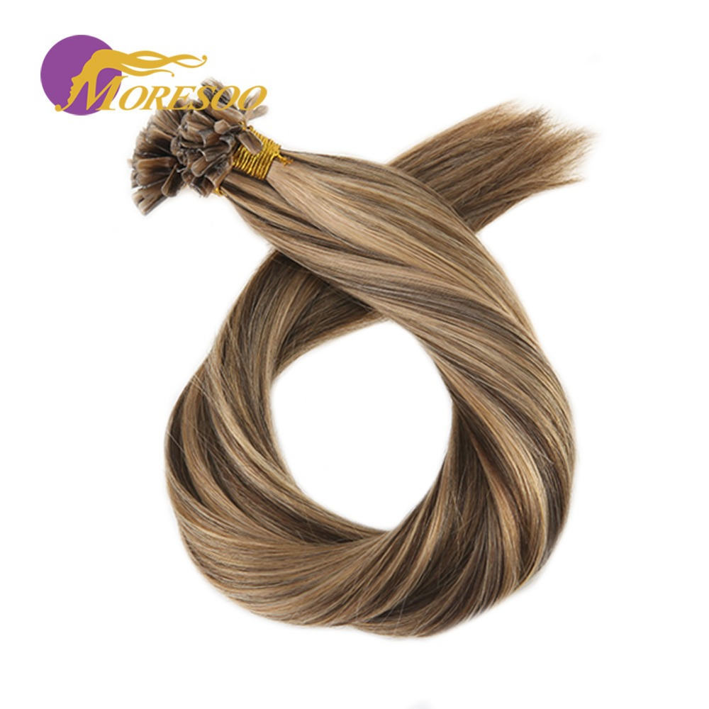 Moresoo Remy Keratin Nail U Tip Extensions Highlight Color Pre-bonded Hair 1g/s 50 Strands