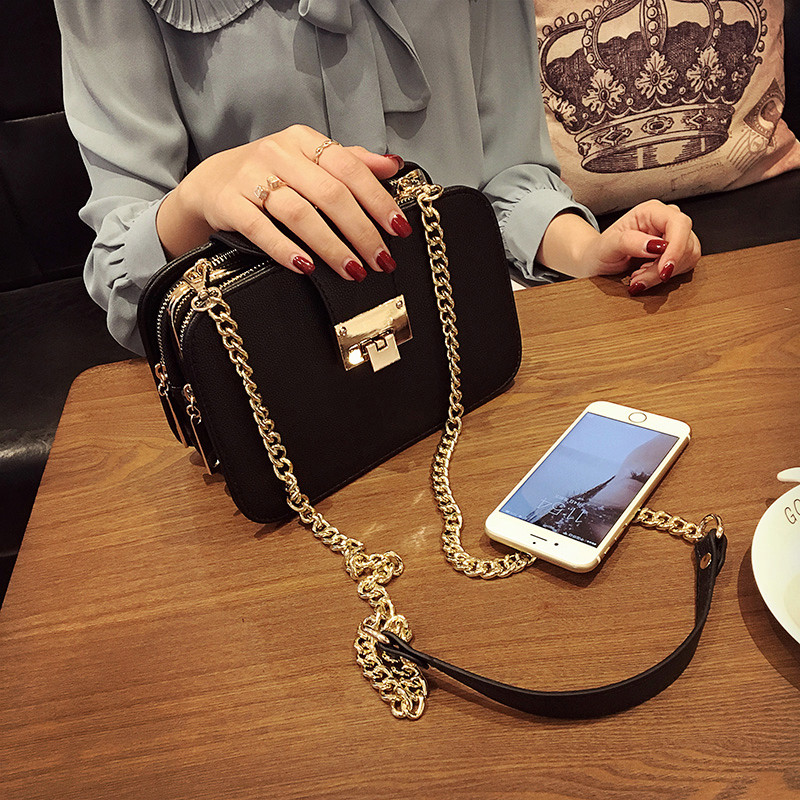 Women's fashion handbag three layer shoulder bag messenger bag vintage popular mobile phone small bag chain bag black color yiyohi women fashion pu fight color small shoulder bag star messenger storage bag gril crossbody bag 5 5 inch mobile phone bag