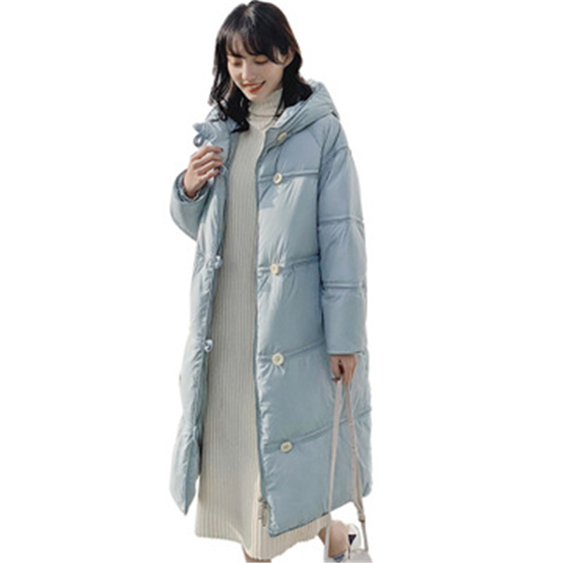 White Duck   Down     Coat   Button Warm   Down   Jacket Female 2019 Retro Loose Long Winter Hooded Jacket Office Lady Slim Thick Woman   Coat