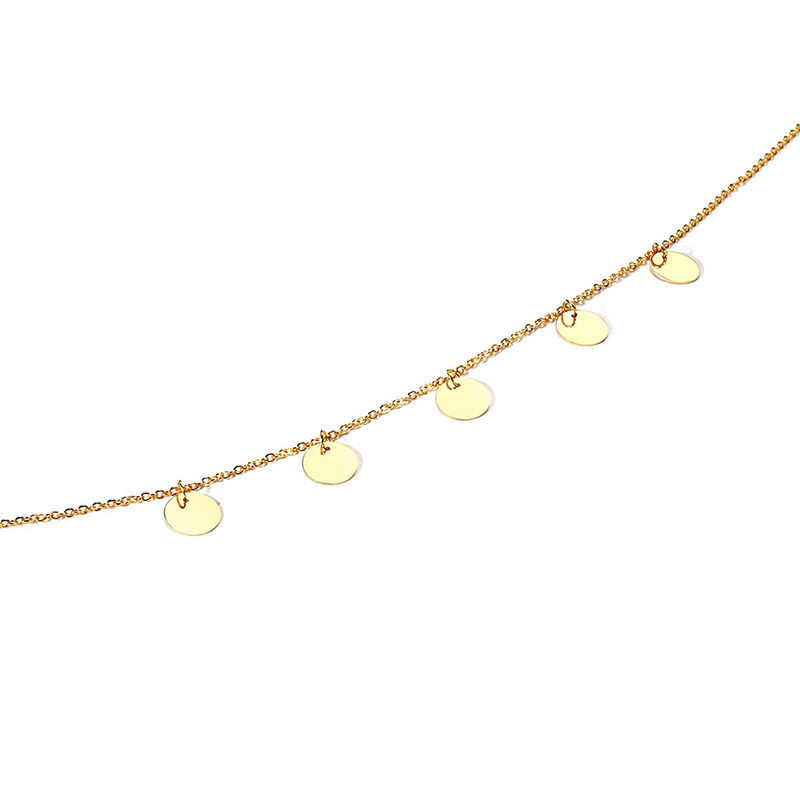 Vnox Gold Tone Coin Choker Necklace Women Stainless Steel kolye colar Accessories