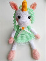 amigurumi girl unicorn rattle toy
