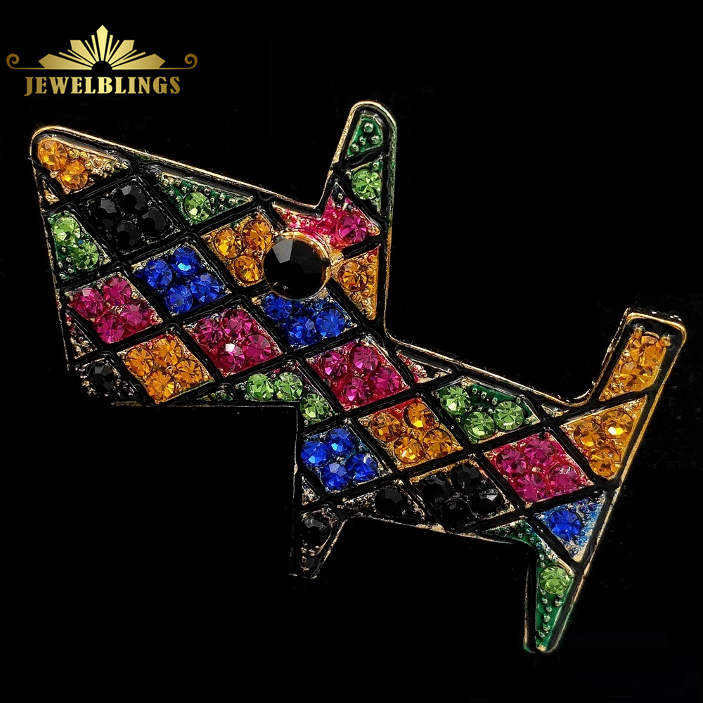Designer Multi Color Crystal Pave Tangram Puppy Brooches Gold Tone Black Eyes Geometrical Gird Style Dog Pins for Girl Jewelry