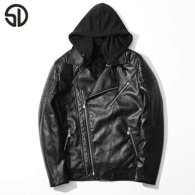 bf8885a68bc Zipper Hooded Men Leather Jacket PU Leather Motorcycle Men Jacket Fashion  Streetwear Slim Fit Jacket Two Colors Hat Available