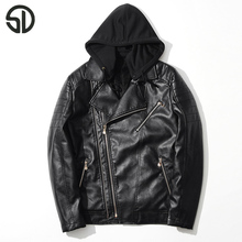 Zipper Hooded Men Leather Jacket PU Leather Motorcycle Men Jacket Fashion Streetwear Slim Fit Jacket Two Colors Hat Available