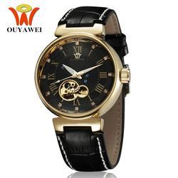Новый OYW бренд автоматический самоветер Мужские механические часы кожаный ремешок водонепроницаемый роскошный скелет черное платье