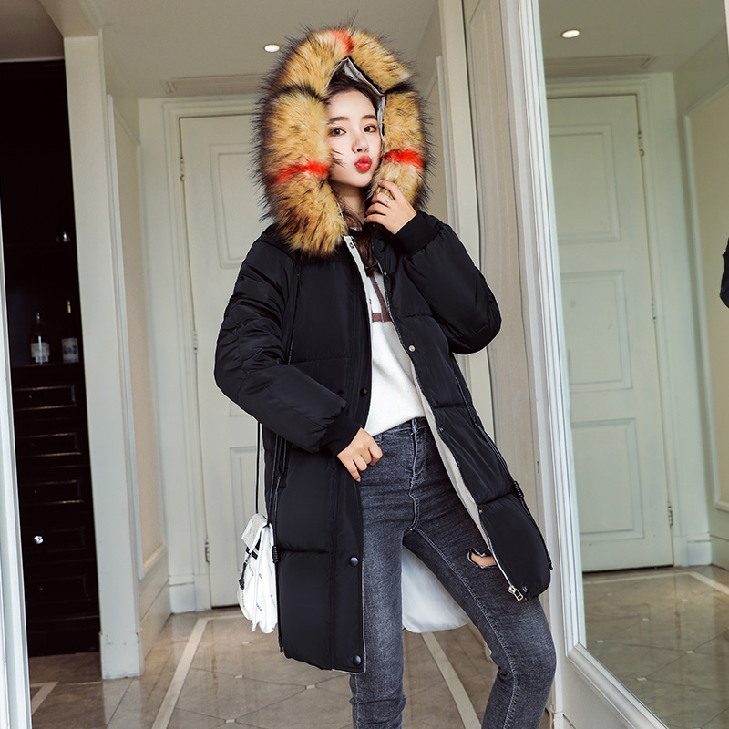 Jacket Winter 2017 Female camel red Fox Warm Coat Collar Black Outerwear ivory Women New Long Down Fur Parka Fake Fashion Kuyomens AFqvA