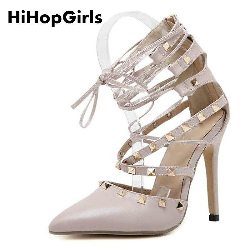 все цены на  HiHopGirls Roman Sandals Women Pumps New Style Booties Ladies Sexy Hollow Cross Lace Up Rivets Stiletto High Heels Shoes Woman