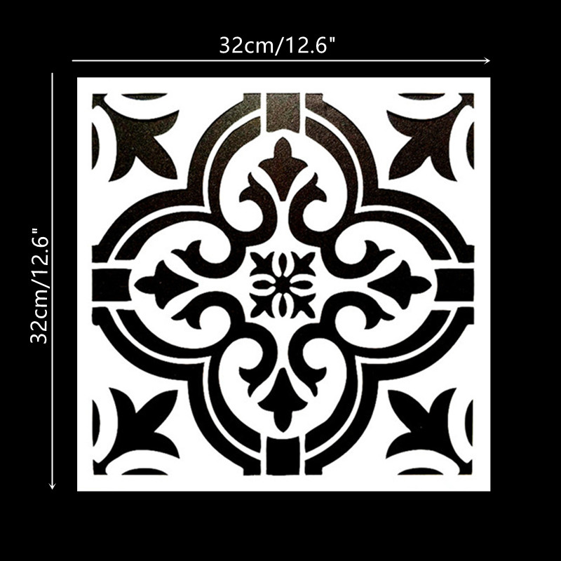 DIY Painting 32*32cm Vintage Flower Pattern Stencils Template For Tile Wall Floor Furniture Painting Decorative