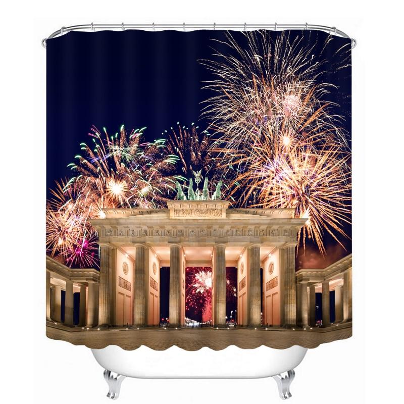 MYRU 3D Print Waterproof Fireworks Shower Curtains Bath