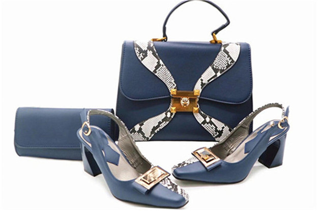 Blue Hot selling Italian designs Shoes and Bag Set in high quality for party banquet italian visual phrase book