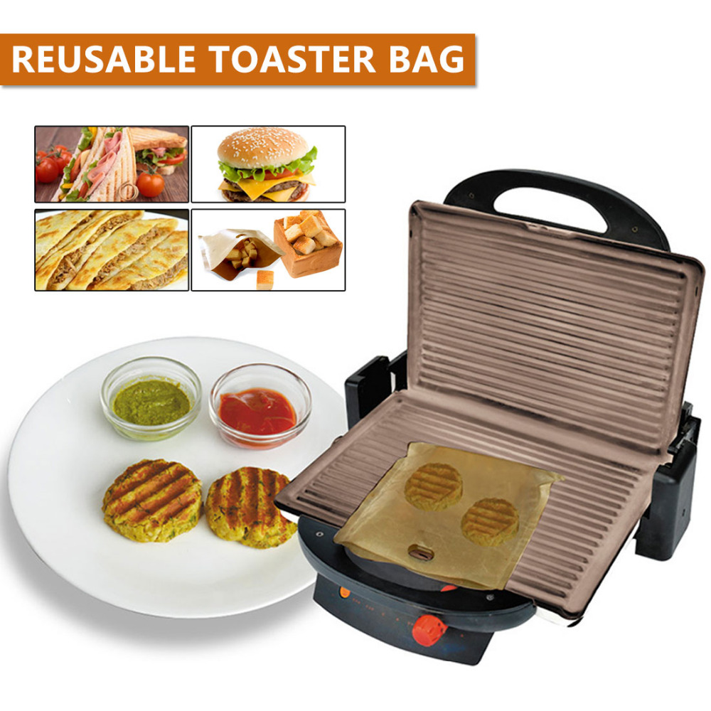Non Stick Reusable Bread Bag Toaster Bag Grilled Cheese Sandwiches Bags Coated Fiberglass Toast Microwave Heating Pastry Tools image