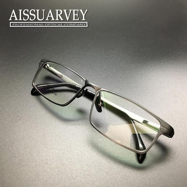 Óculos homens óculos de armação armação completa moda marca negócios luz óptica da prescrição titanium belo rapaz de alumínio quadrado