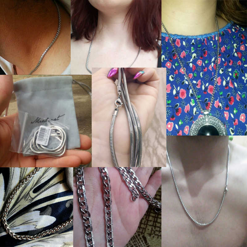 Meaeguet klasyczny ze stali nierdzewnej kolor srebrny Link Chain naszyjnik wąż/Box/wiszące/krawężnik/płaskie/Twist Chain 24inch