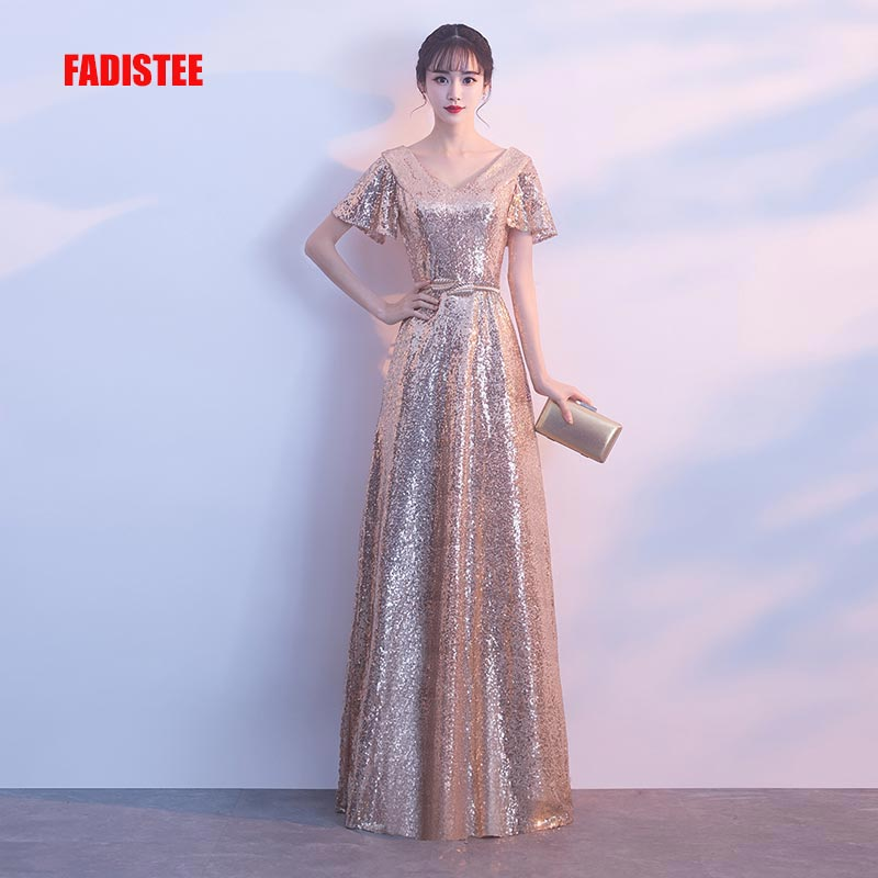 FADISTEE Autumn 2018 bling sequin sweet evening party formal prom V neck Long gold sashes simple frock sexy flare sleeves