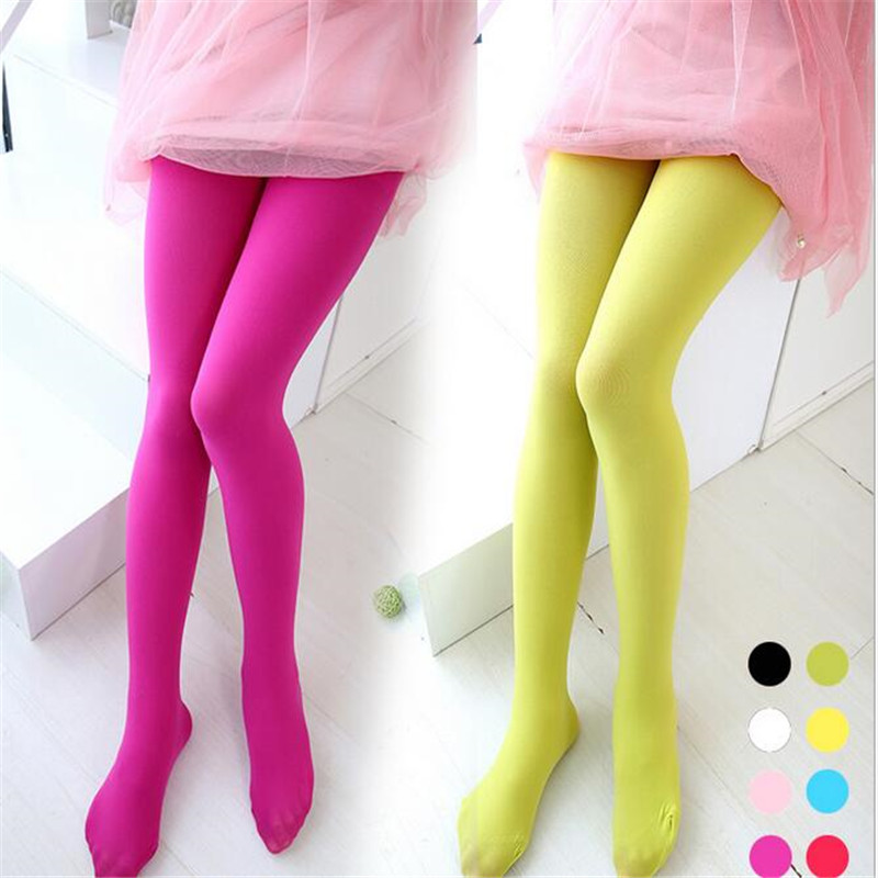 YWHUANSEN 3-15 Yrs Velvet Girls Tights Candy Color Collant Pantyhose For Children Kids Clothing White Dancing Stockings Summer